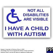 1 x Child With Autism Disabled Sticker-87mm External Car,Van,Vehicle Vinyl Sign